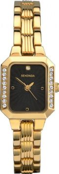 Ladies Sekonda 2118 Crystal Set Black Sun-ray Dial Gold Plated Watch